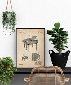 Plakat retro - Patent na fortepian do gabinetu