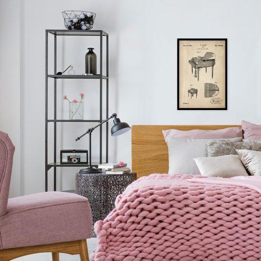 Plakat retro - Patent na fortepian do sypialni