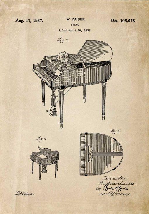Plakat retro - Patent na fortepian