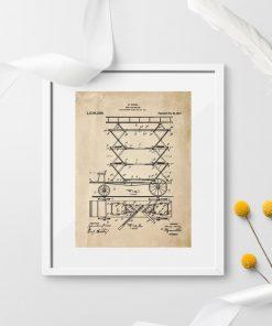 Plakat retro - patent na mechaniczna drabinę pożarniczą
