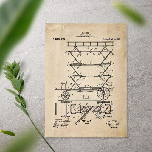 Plakat retro - patent na urządzenie do gaszenia pożaru