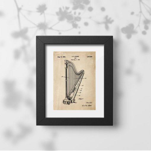 Plakat retro w sepii z instrumentem muzycznym