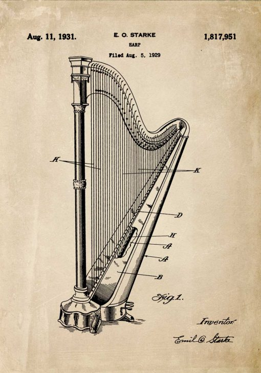 Plakat retro z harfą - patent 1931r.
