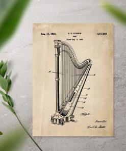 Plakat retro z instrumentem muzycznym