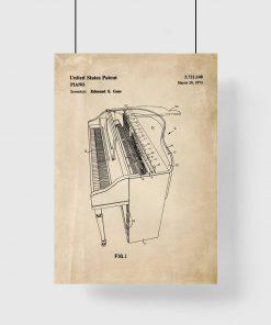 Plakat retro z klawiszowym instrumentem