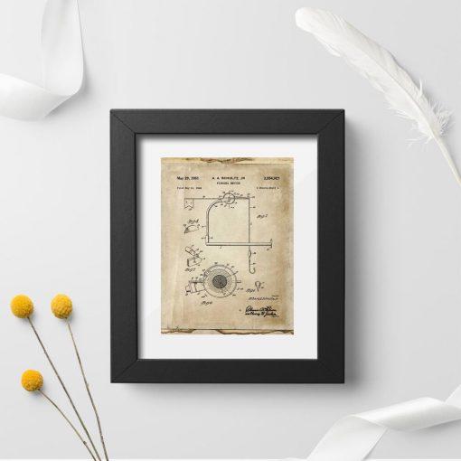 Plakat retro z motywem kołowrotka - wynalazek z 1951r.