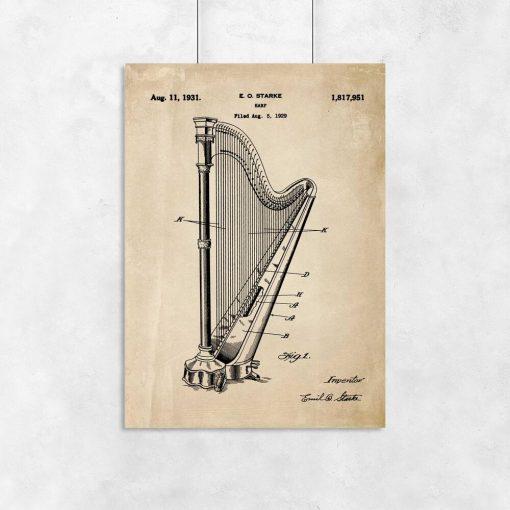 Plakat retro z motywem patentu na harfę