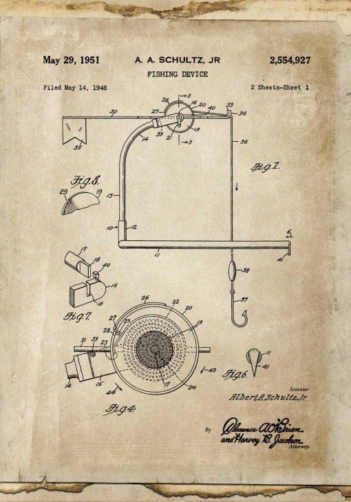 Plakat retro z patentem na kołowrotek do wędki