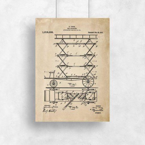Plakat retro z patentem na pierwszy wóz strażacki