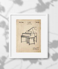 Plakat retro z pianinem -patent