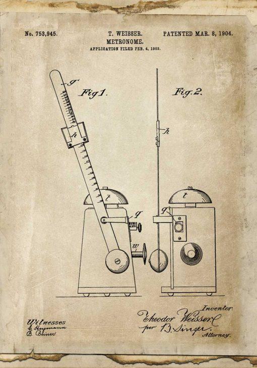 Plakat retro z rysunkiem patentowym metronomu z 1904r.do dekoracji szkoły