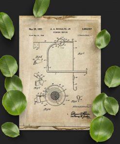 Plakat retro z wynalazkiem dla wędkarza