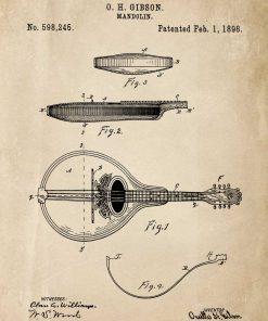 Plakat - Rysunek mandoliny