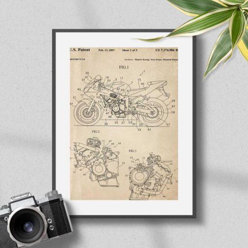 Plakat rysunek patentu na motocykl