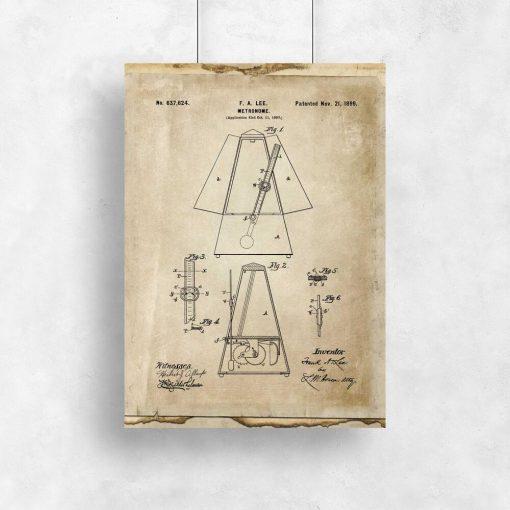 Plakat schemat budowy metronomu do ozdoby ściany w szkole muzycznej