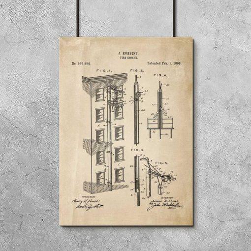 Plakat vintage - patent na wyjście pożarowe