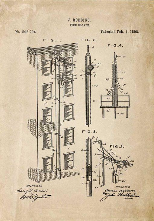 Plakat vintage projekt i zgoda na budowę wyjścia pożarowego