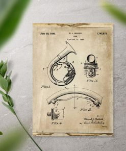 Plakat vintage róg dęty blaszany