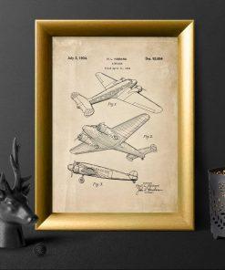 Plakat vintage z aeroplanem