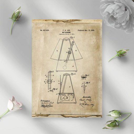 Plakat vintage z mentronomem do dekoracji gabinetu muzycznego