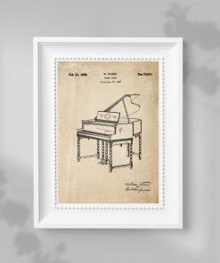 Plakat vintage z motywem pianina - patent
