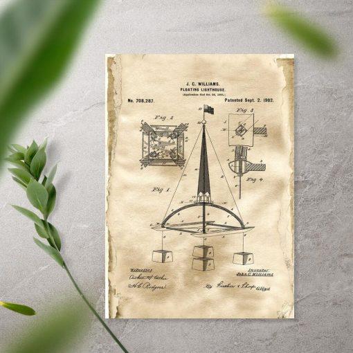 Plakat vintage z patentem na bojkę morską