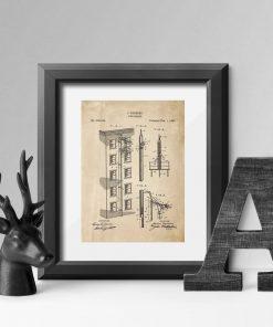 Plakat vintage z patentem na budowę wyjścia awaryjnego