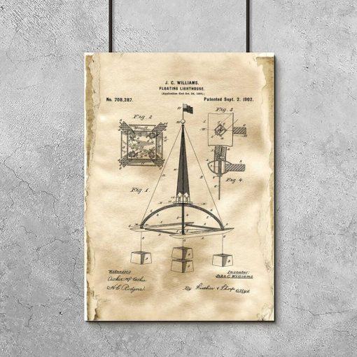 Plakat vintage z patentem na pławę morską