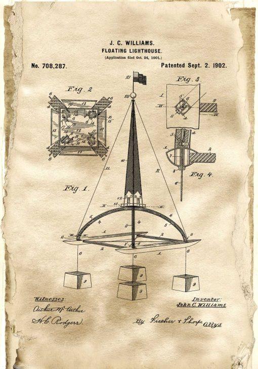 Plakat vintage z patentem na pływającą boję morską