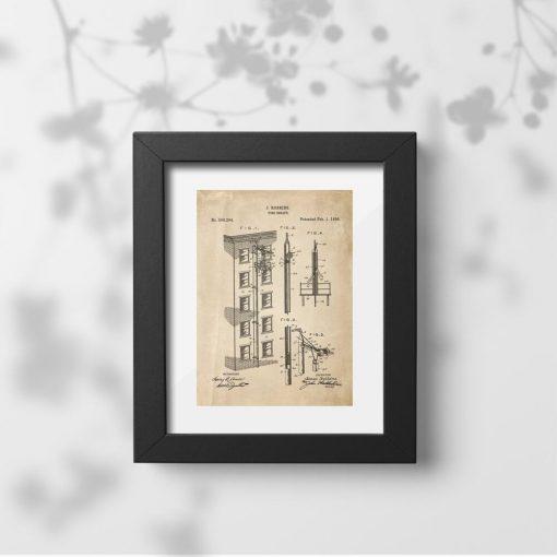Plakat vintage z patentem na wyjście awaryjne