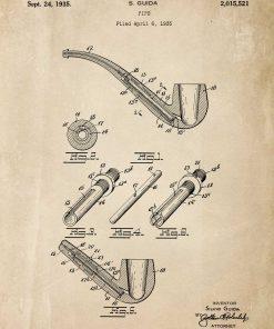 Plakat vintage z rysunkiem opisowym fajki