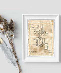 Plakat w kolorze sepii z certyfikatem na budowę kombajnu