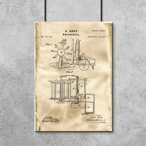 Plakat w kolorze sepii z motywem kombajnu - patent