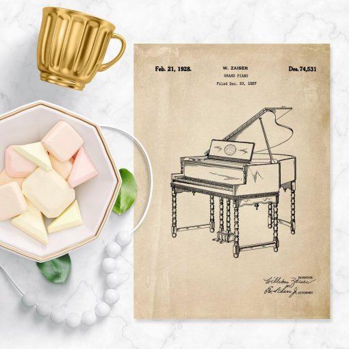 Plakat w kolorze sepii z motywem pianina