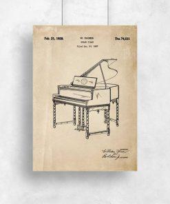 Plakat w kolorze sepii z rysunkiem patentowym pianina