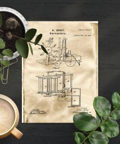 Plakat w sepii z projektem budowy kombajnu