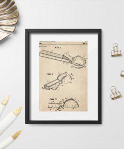 Plakat w sepii z rysunkiem patentowym na łyżkę do lodów do dekoracji cukierni