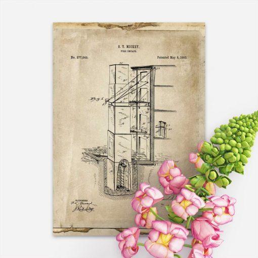 Plakat w stylu retro z patentem p.poż