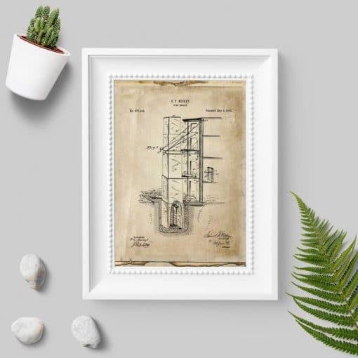 Plakat w stylu retro z wynalazkiem p. pożarowym