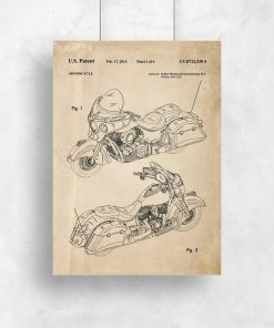 Plakat w stylu vintage z patentem na budowę motocykla