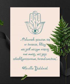 Plakat z amuletem i słowami Goddarda
