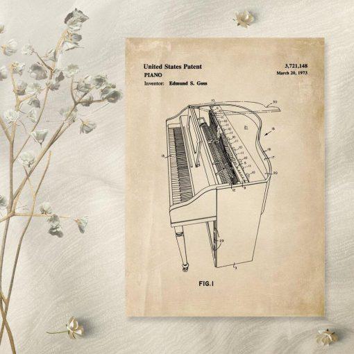 Plakat z fortepianem - klawiszowy instrument muzyczny