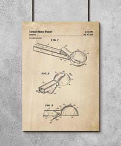 Plakat z patentem do łyżkę do lodów z 1979r. do ozdoby lodziarni