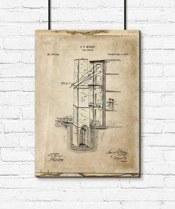 Plakat z patentem i zezwoleniem na budowlę przeciwpożarową