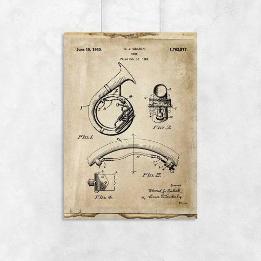 Plakat z patentem na instrument muzyczny w stylu vintage