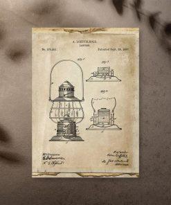 Plakat z patentem na latarnie do przedpokoju