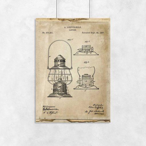 Plakat z patentem na latarnie do salonu