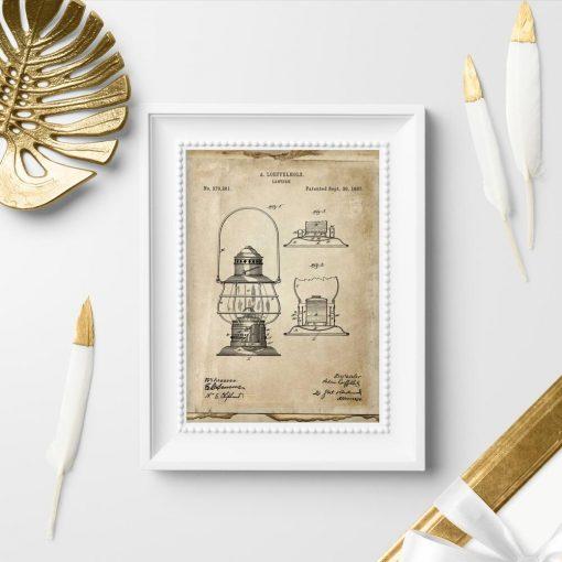 Plakat z patentem na latarnie na prezent