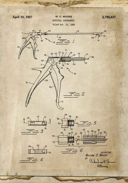 Plakat z patentem na odgryzacz kostny dla stomatologa