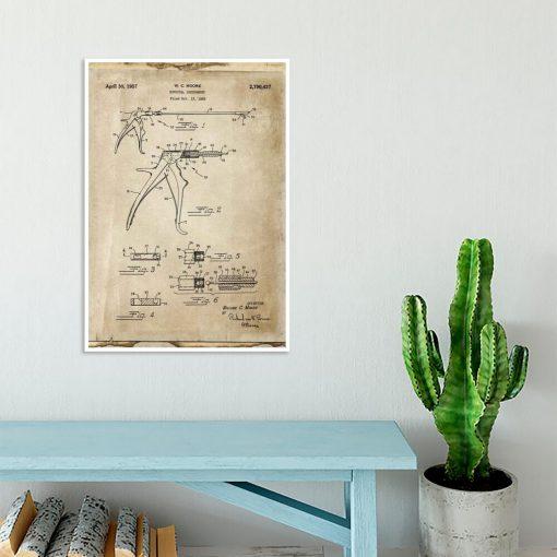 Plakat z patentem na odgryzacz kostny dla studenta